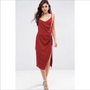 ASOS Red Cinched Crepe Wrap Midi Cami Dress